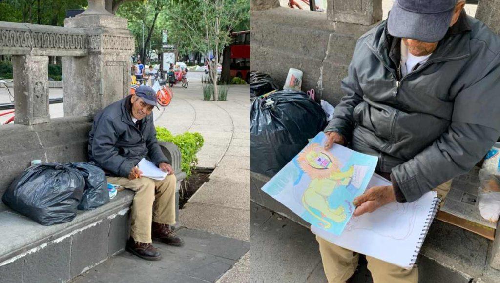 Conmueve en redes abuelito que vende dibujos en CDMX para ...